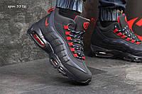 Мужские кроссовки  Nike Air Max 95 нубук ( зима), темно синие с красным