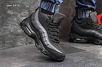 Мужские кроссовки  Nike Air Max 95 нубук ( зима), черно серые