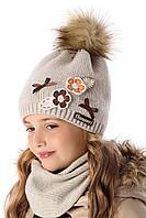 Теплая шапка для девочки Flowers, 2160
