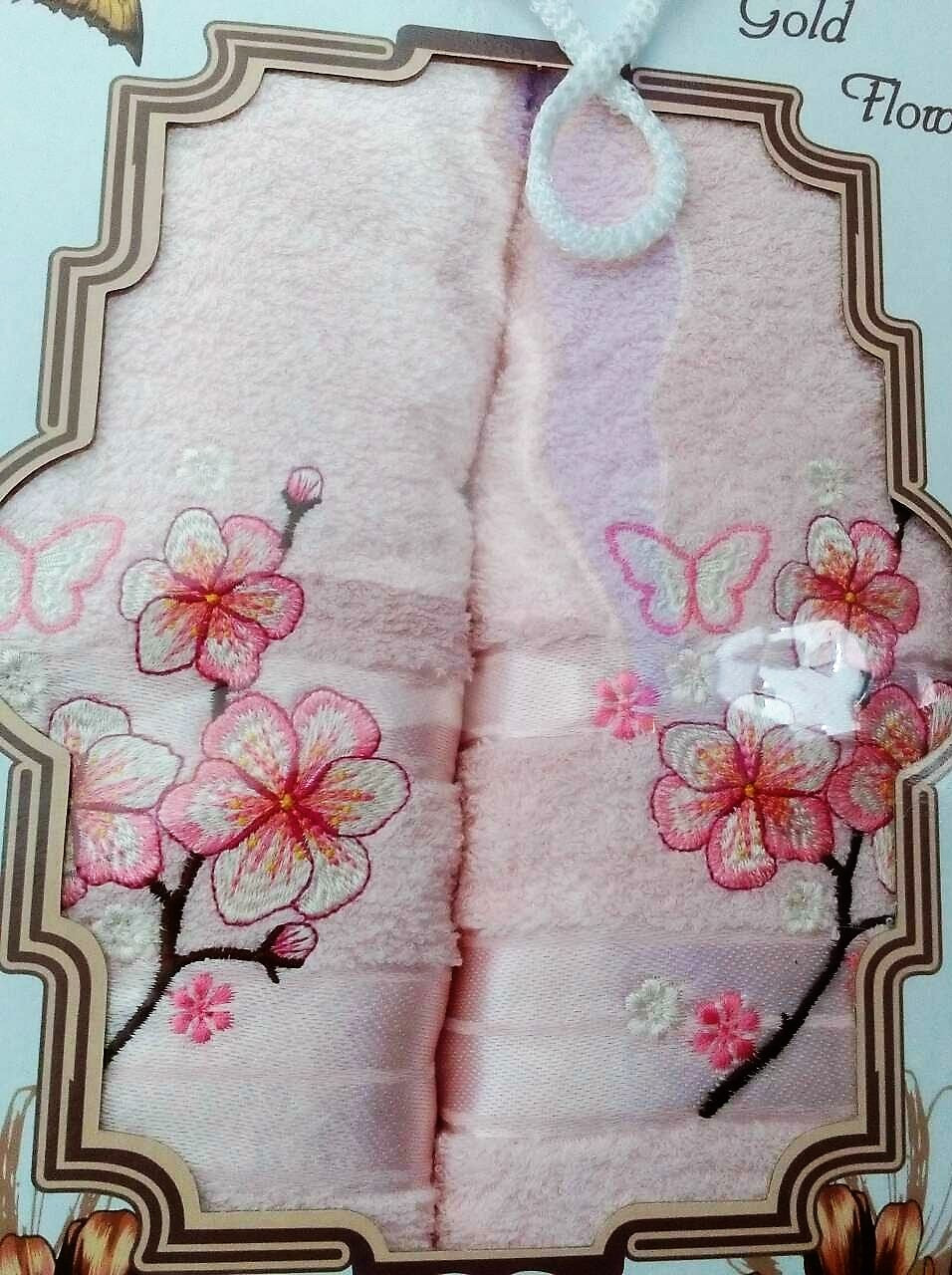 """Подарочный набор полотенец """"Цветок"""" TWO DOLPHINS, Турция, розовый"""