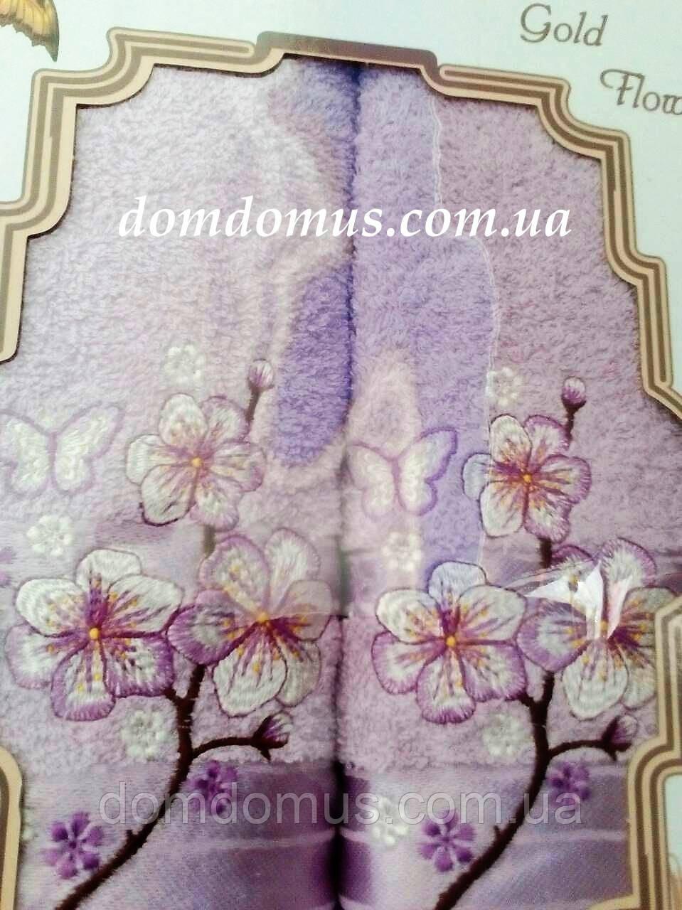 """Подарочный набор полотенец """"Цветок"""" TWO DOLPHINS, Турция, сиреневый"""