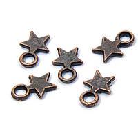 Кулон Звезда, Металл, Цвет: Медь, Размер: 10х8x2мм, Отверстие 2.5мм, (УТ100008742)