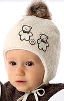 Детская теплая шапочка для мальчика Два медвежонка, MARIKA (Польша) 2101