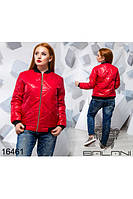 Женская осенняя куртка из плащевки на синтепоне красная,размеры 48,50,52
