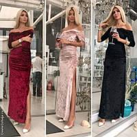 Модное женское платье макси с разрезом / Украина / бархат