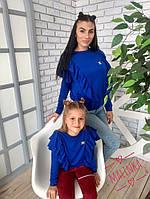 Кофточка для мамы и дочки с рюшей от плеча
