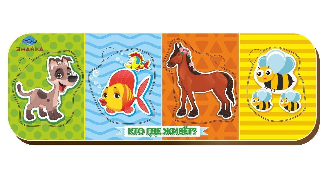 Вкладыш «Кто что ест?», собака-рыба-конь-пчела, 011905