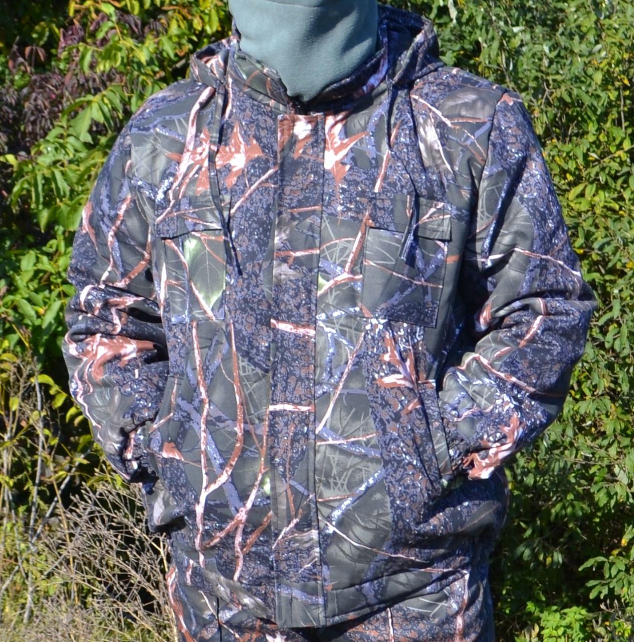 Куртка зимняя под резинку Дубок с капюшоном светлый мех + синтепон р.48-58