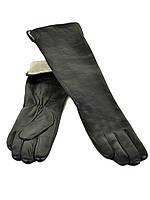 Длинные кожаные женские перчатки МариClassic на шерсти 50см оптом