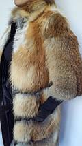 Шуба из поперечного меха лисы с рукавом 3/4, шубы из меха лисы от производителя, фото 3