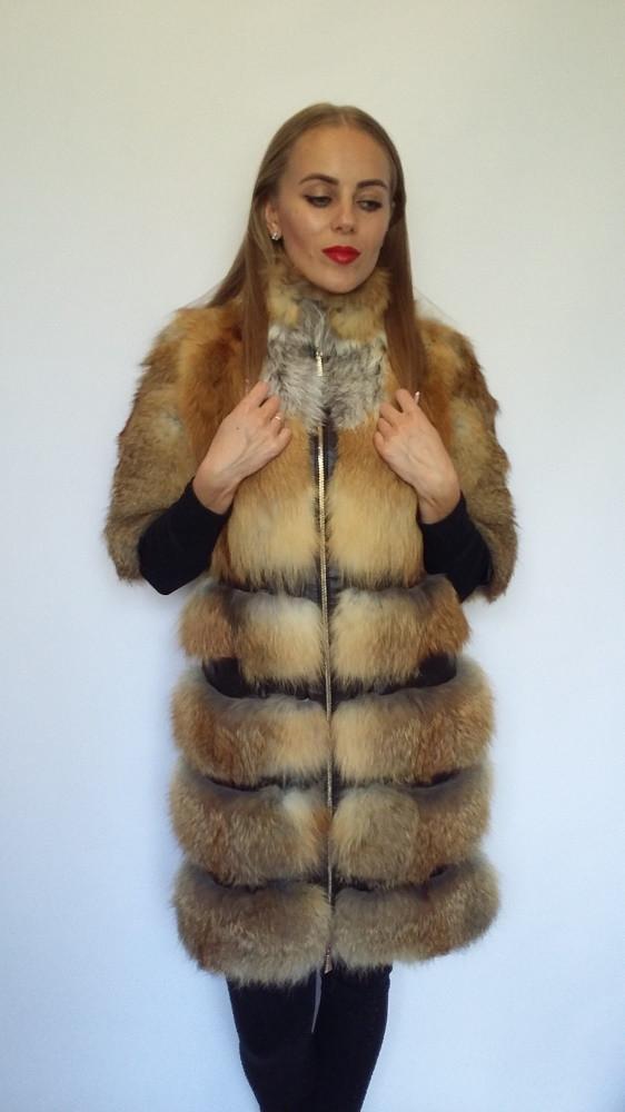 Шуба из поперечного меха лисы с рукавом 3/4, шубы из меха лисы от производителя