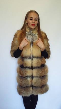 Шуба из поперечного меха лисы с рукавом 3/4, шубы из меха лисы от производителя, фото 2