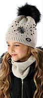 Детская теплая шапочка для девочки FLY, MARIKA (Польша) 2161