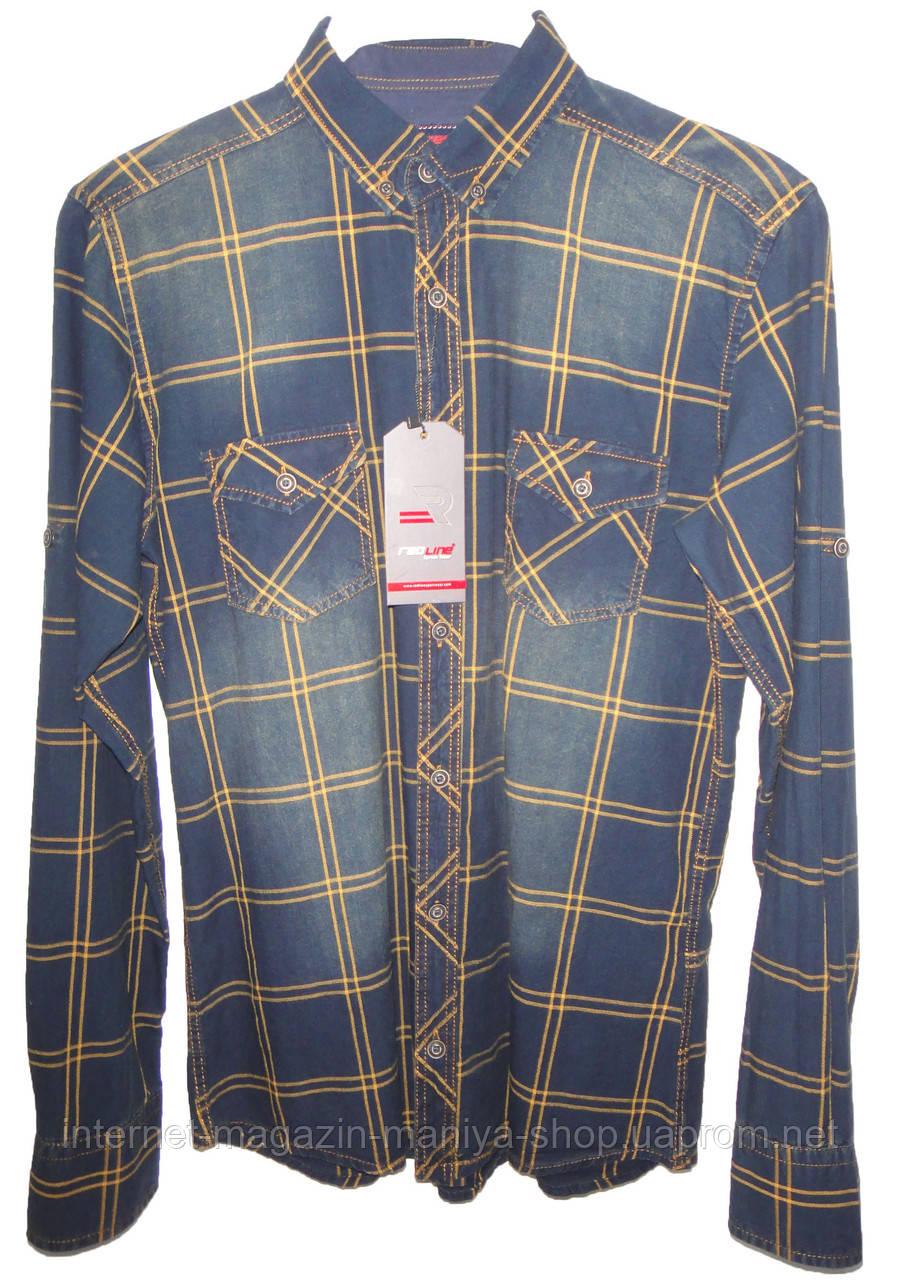 Рубашка мужская 379 карманы клетка трансформер (деми)