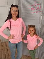 Кофточка для мамы и дочки с рюшей на груди