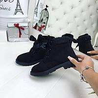 36, 37, 38 размер! Комфортные женские черные ботинки экозамш на лентах