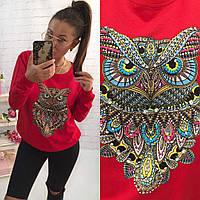 """Стильный свитер, кофта, свитшот """"Сова"""" красного цвета"""