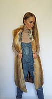 Длинный жилет из меха лисы, жилеты из меха лисы от производителя