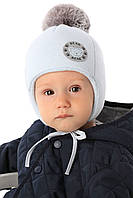 Детская теплая шапочка для мальчика Bear, MARIKA (Польша)