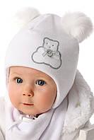 Детская теплая шапочка для девочки Серебристый Медвежонок, MARIKA (Польша)