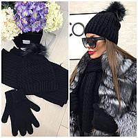 Красивый вязаный комплект: шапка, шарф и перчатки черного цвета