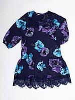 Платье штапель принт роза, рукав 3 четверти, французские кружева