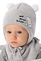 Детская теплая шапочка для мальчика Любимый Мишка, MARIKA (Польша)