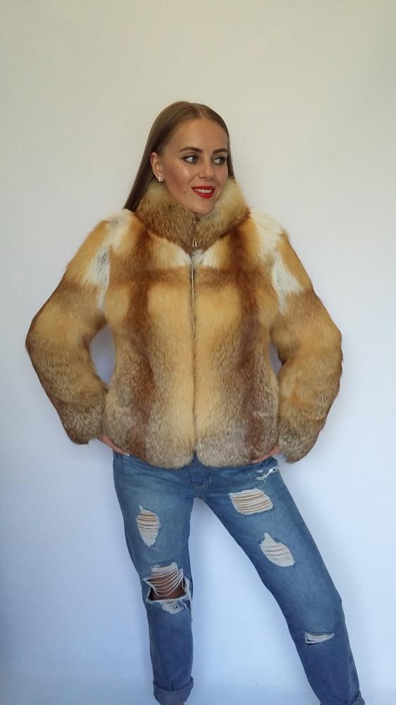 Полушубок из цельного меха лисы с длинным рукавом, полушубки из меха лисы от производителя