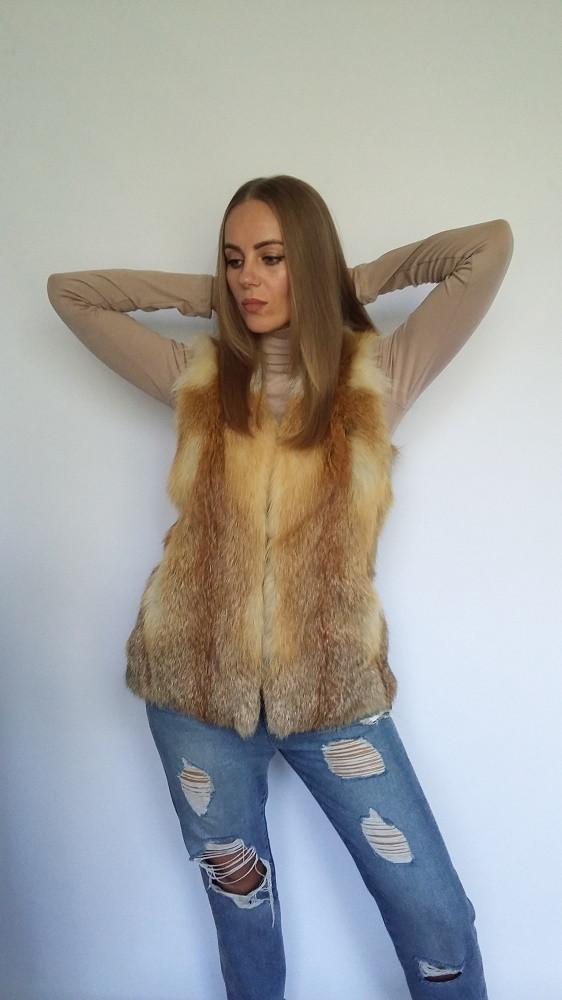 Жилет-майка из цельного меха лисы, жилеты из меха лисы от производителя