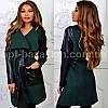 Женское пальто, кашемир+экокожа  (42-48, норма) — купить дешево оптом от производителя в одессе 7км