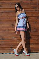 Короткий пляжный сарафан в полоску Ora 400120 48(XL) Сине-Голубой Ora 400120