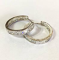 Серьги кольца с камнями родий, ювелирная бижутерия