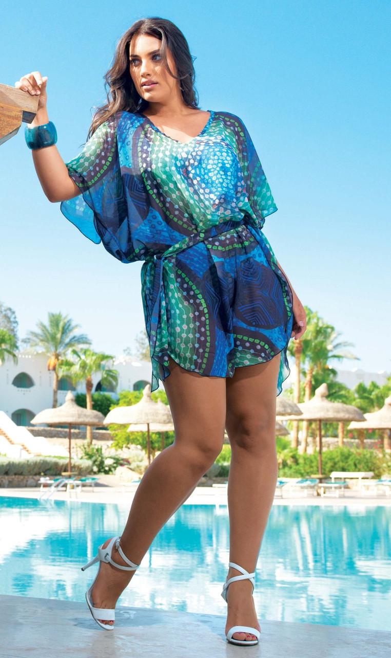36bce973a5e Пляжная туника мини для женщин с поясом Amarea 17232 One Size Синий Amarea  17232 - Интернет
