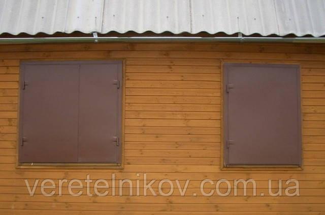 Ставни металлические, распашные на окна.