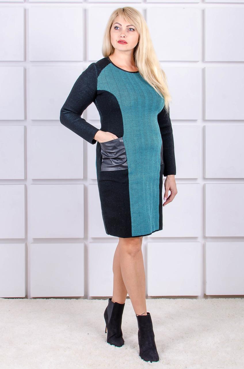 Вязаное платье размер плюс Kompliment бирюза (46-56)