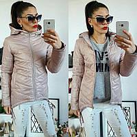 Куртка-парка женская, модель  210, жемчужная пудра