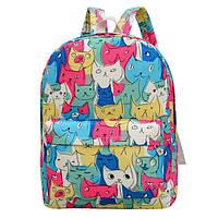 Разноцветный яркий городской рюкзак с котиками / женский маленький рюкзак молодежный модный