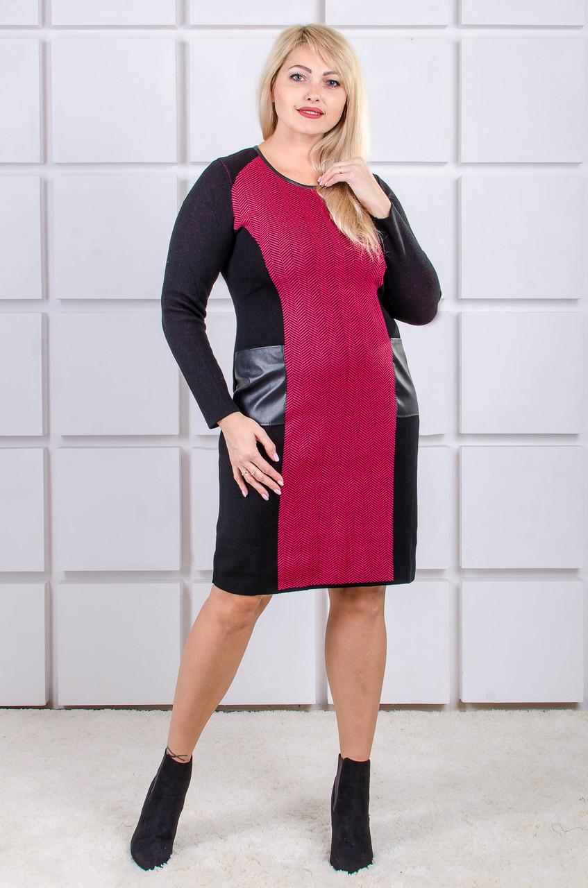 Вязаное платье размер плюс Kompliment красный (46-56)
