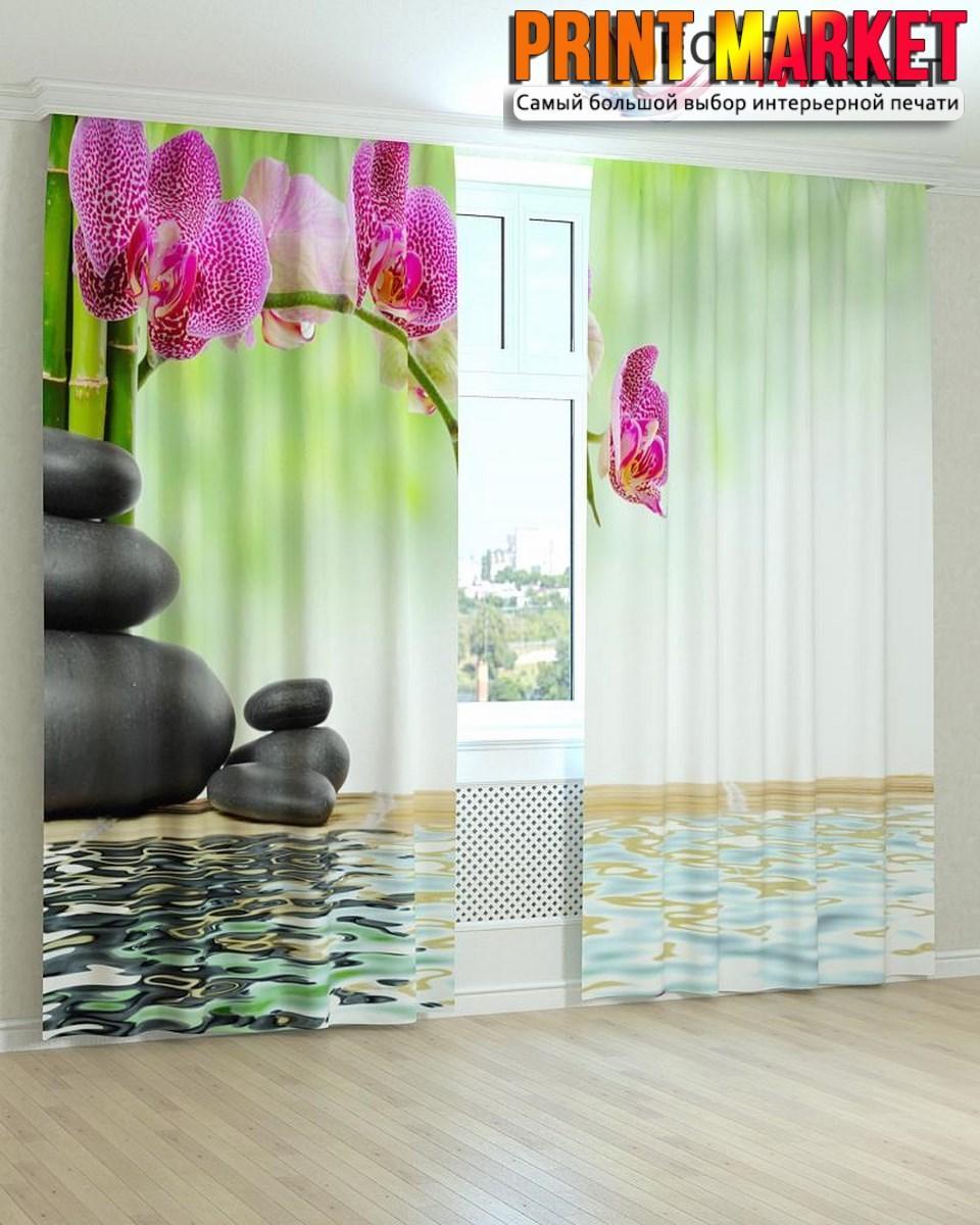 Фотошторы камни и орхидея