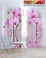 Фотошторы розовая орхидея 3д