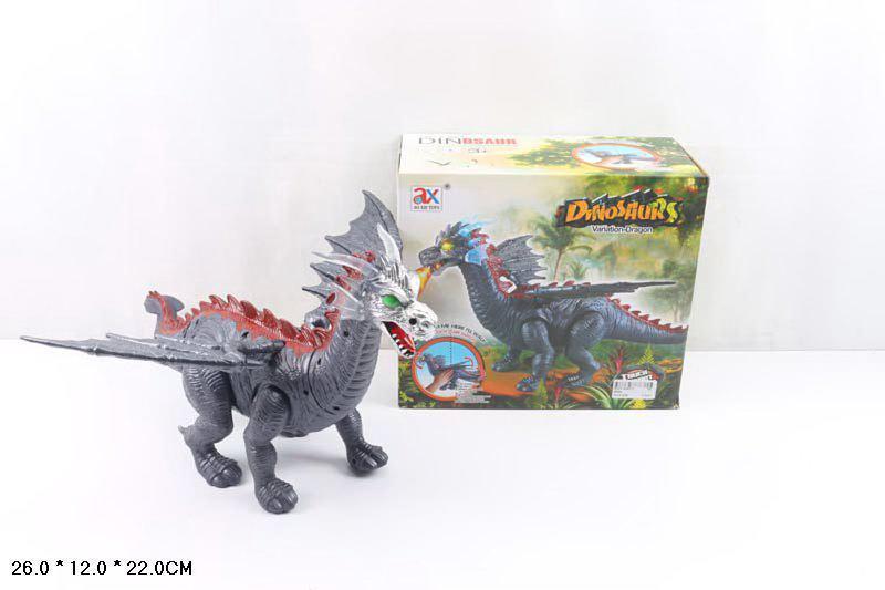 Игрушка  Дракон Черный интерактивный - звуковые и световые эффекты 806А Животные Дракон