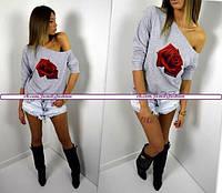 Женская кофта на одно плечо с розой
