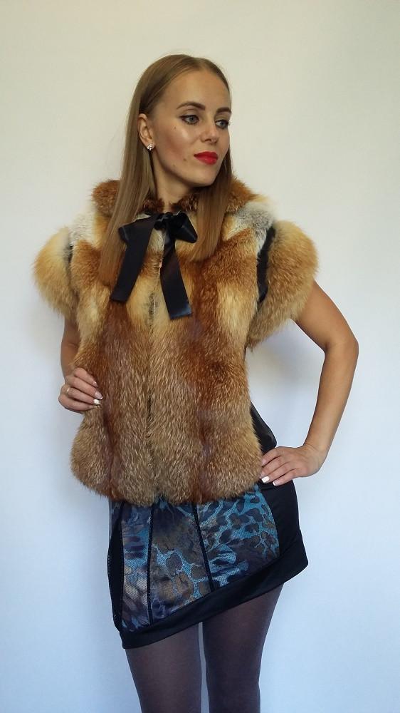 Жилет c бантом из цельного меха лисы с кожаной вставкой, жилеты из меха лисы от производителя