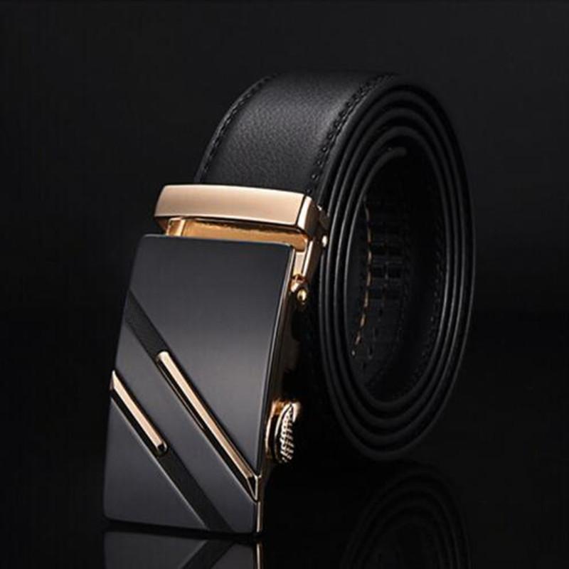 Ремень мужской классический кожаный с пряжкой автомат (золото)