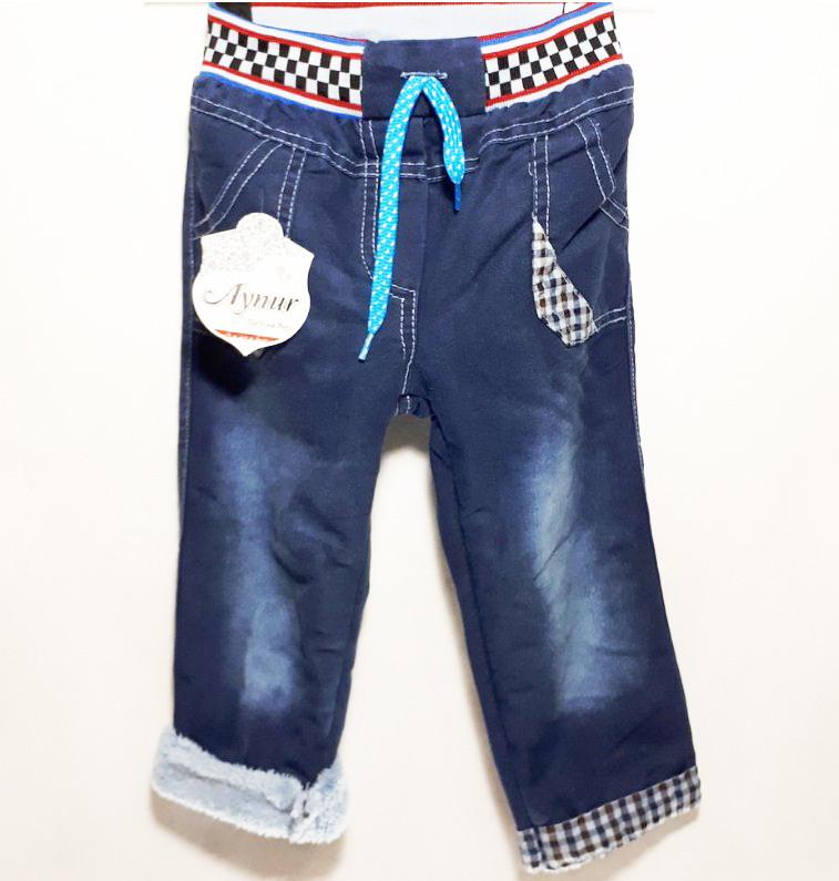 Детские теплые джинсы для мальчика на травке Клетка