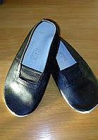 Детские кожаные чешки со стелькой черные р.21-22 см