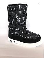 Зимние дутики, сапоги для девочек Д-6 черные(снежинка)