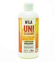 Nila Uni -Cleaner (жидкость для снятия гель-лака,акрила,очищения кистей) апельсин 500мл.
