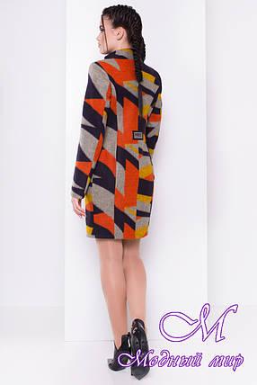 Женское шерстяное осеннее пальто арт. Луара стойка шерсть принт 6996, фото 2