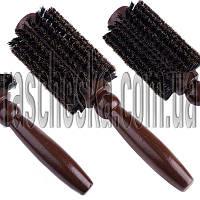 """Деревянная щетка для укладки волос """"Круглая + натуральная щетина"""" диаметр 60мм"""